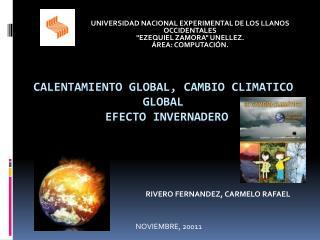 CALENTAMIENTO GLOBAL, CAMBIO CLIMATICO GLOBAL  Efecto Invernadero
