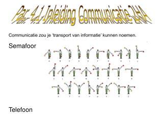 Communicatie zou je 'transport van informatie' kunnen noemen. Semafoor Telefoon