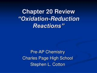 Chapter 20 Review  Oxidation-Reduction Reactions