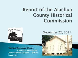 Report of the Alachua County Historical Commission