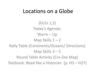 Locations on a Globe