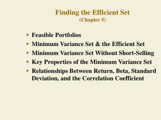 Finding the Efficient Set Chapter 5
