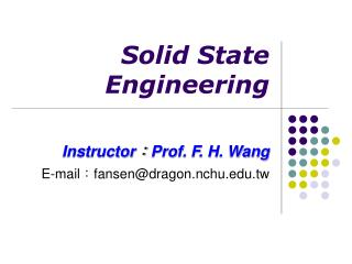Solid State Engineering