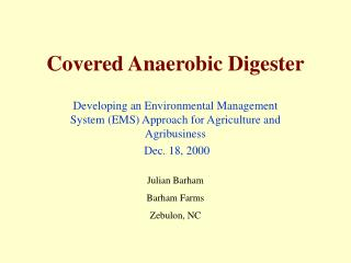Covered Anaerobic Digester