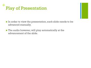 Play of Presentation