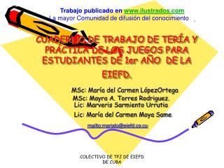 CUADERNO DE TRABAJO DE TER�A Y PR�CTICA DE LOS JUEGOS PARA ESTUDIANTES DE 1er A�O  DE LA EIEFD.