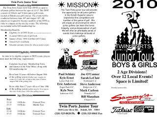 Twin Ports Junior Tour Information - 2010