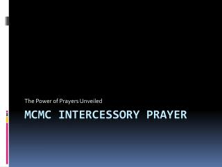 MCMC INTERCESSORY PRAYER