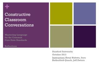 Constructive Classroom Conversations