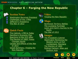 Chapter 6 � Forging the New Republic