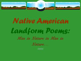 Native American Landform Poems: