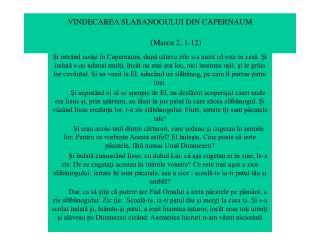VINDECAREA SLABANOGULUI DIN CAPERNAUM (Marcu 2, 1-12)