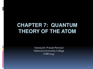 Chapter 7:  QUANTUM THEORY OF THE ATOM