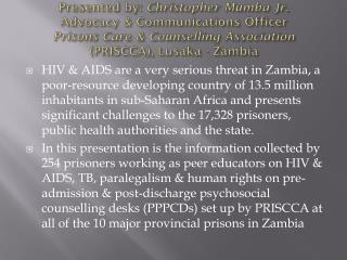Interventions to the Improvement of access to HIV & TB testing & treatment for prisoners in Zambia