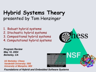 Hybrid Systems Theory       presented by Tom Henzinger