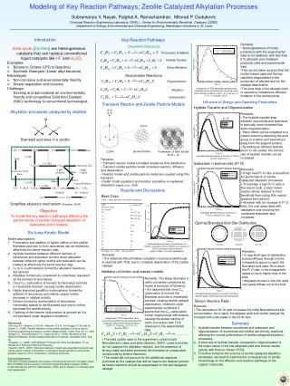 Modeling of Key Reaction Pathways; Zeolite Catalyzed Alkylation Processes