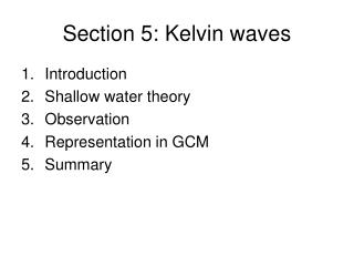 Section 5: Kelvin waves