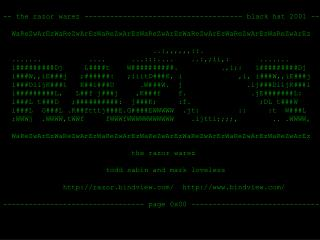 -- the razor warez ------------------------------------- black hat 2001 --