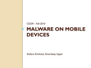 MalWare  on mobile devices