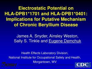 Electrostatic Potential on HLA-DPB11701 and HLA-DPB10401: Implications for Putative Mechanism of Chronic Beryllium Disea