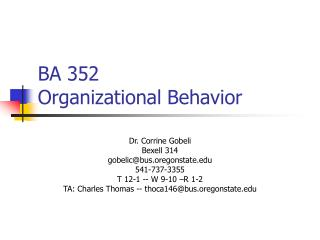 BA 352  Organizational Behavior