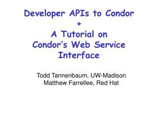 Developer APIs to Condor + A Tutorial on  Condor's Web Service Interface