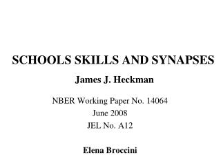 SCHOOLS SKILLS AND SYNAPSES James J. Heckman
