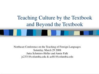 Teaching Culture by the Textbook and Beyond the Textbook