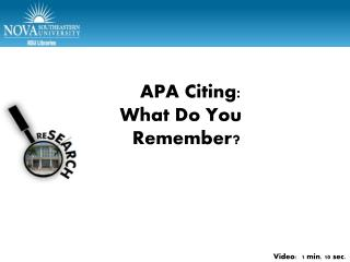 APA Part 1 – Test citations