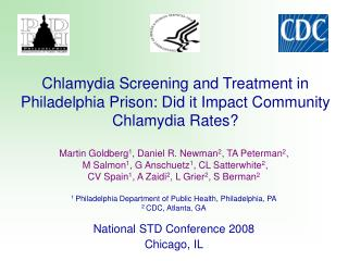 Chlamydia Screening and Treatment in Philadelphia Prison: Did it Impact Community Chlamydia Rates?