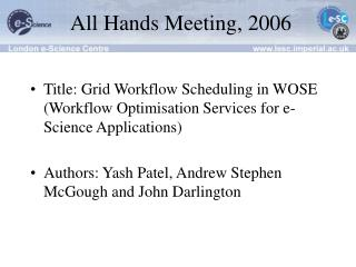 All Hands Meeting, 2006