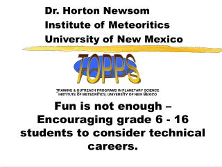 Fun is not enough –Encouraging grade 6 - 16 students to consider technical careers.