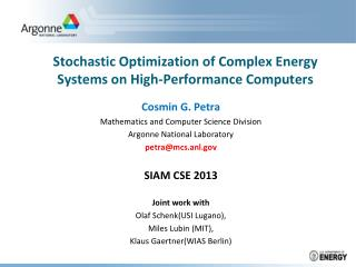 Stochastic Optimization of Complex Energy Systems on High-Performance Computers