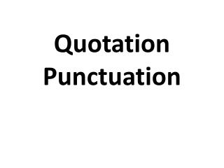 Quotation Punctuation