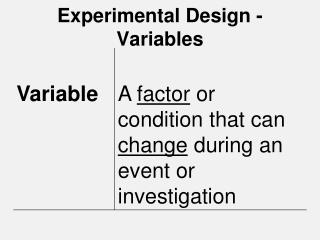 Experimental Design - Variables