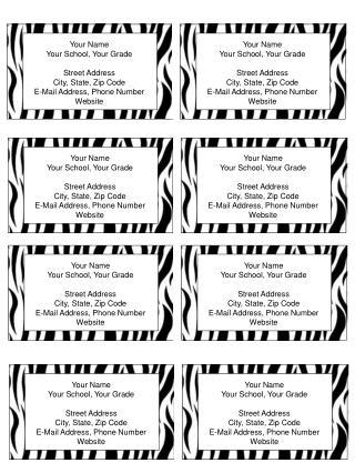 Business+Cards +Zebra+Striped