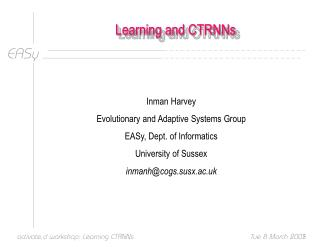 Learning and CTRNNs