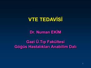 VTE TEDAVİSİ Dr. Numan EKİM Gazi Ü.Tıp Fakültesi  Göğüs Hastalıkları Anabilim Dalı