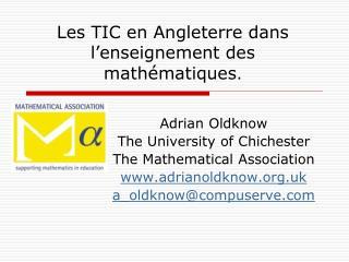 Les TIC en Angleterre dans l�enseignement des math � matiques .