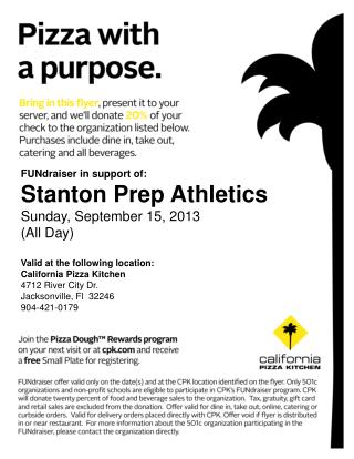 FUNdraiser in support of: Stanton Prep Athletics Sunday, September 15, 2013 (All Day)