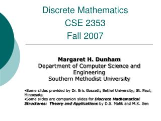 Discrete Mathematics CSE 2353 Fall 2007