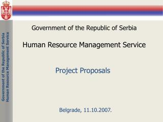 Government of the Republic of Serbia Human Resource Management  Service