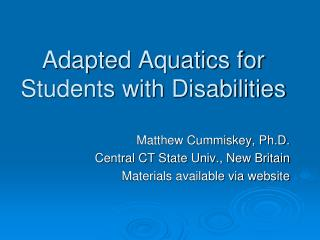 Adapted Aquatics for Students with Disabilities