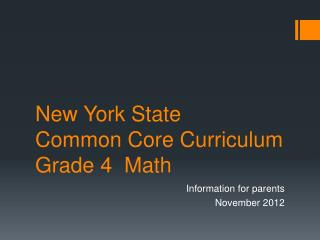 New York State Common Core Curriculum Grade 4  Math