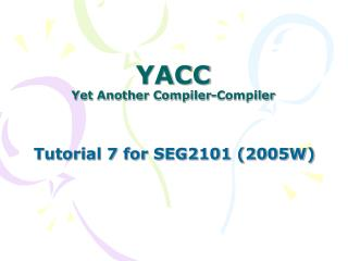 YACC Yet Another Compiler-Compiler