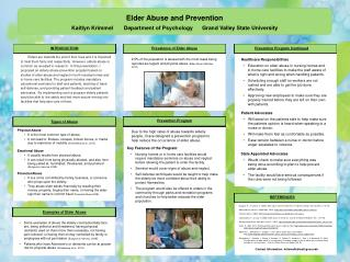 Elder Abuse and Prevention