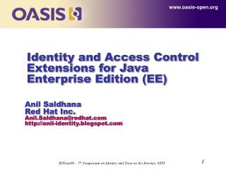 Identity and Access Control Extensions for Java Enterprise Edition (EE)