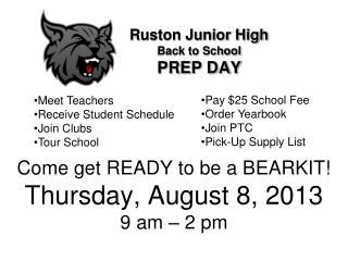 Ruston Junior High Back to School PREP DAY