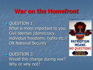 War on the  Homefront