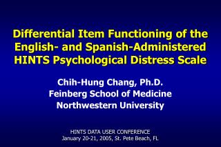 Chih-Hung Chang, Ph.D. Feinberg School of Medicine Northwestern University